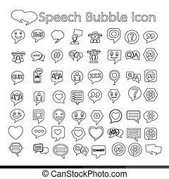 conception, bulle discours, illustration, icône