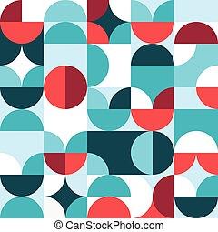 conception, cercles, retro, résumé, formes géométriques, 60...