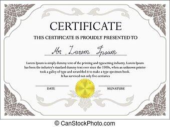 conception, certificat, gabarit