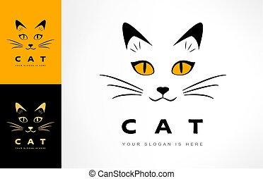 conception, chat, animal, logo, vecteur