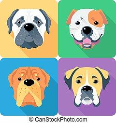 conception, chien, ensemble, plat, icône, tête