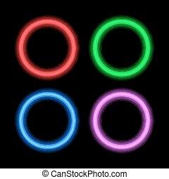 conception, circles., enseigne, néon