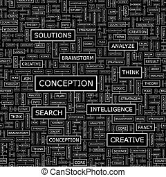 CONCEPTION. Seamless pattern. Word cloud illustration.