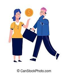 conception, coloré, utilisation, cellphone, femme affaires, dessin animé, homme affaires