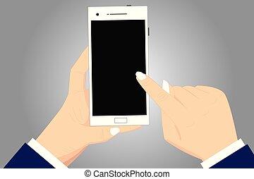 conception, concept affaires, vide, espace copy, moderne, résumé, fond, hu, analyse, mains, tenue, pointage, toucher, smartphone, vide, couleur, écran