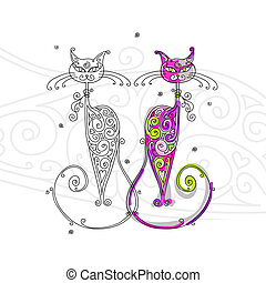 conception, couple, chats, silhouette, ton