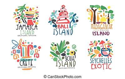 conception, crète, îles, exotique, bali, logo, seychelles,...