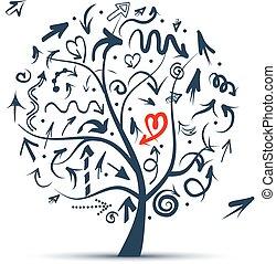 conception, croquis, arbre, flèches, ton