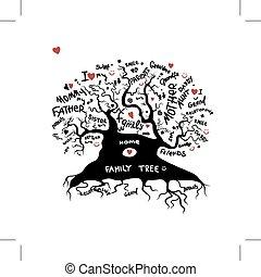 conception, croquis, arbre, ton, famille