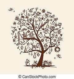 conception, croquis, arbre, ton, noël