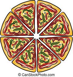 conception, croquis, pizza, ton, morceaux