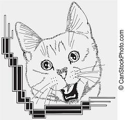 conception décorative, chat