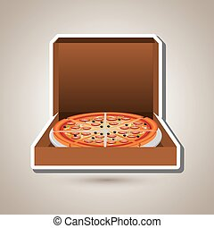 conception, délicieux, pizza