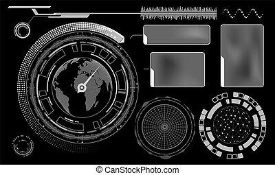 conception, de, hud, menu, utilisateur, interface., ensemble, futuriste, tableau bord, isolé, sur, noir, arrière-plan.