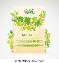 conception, decoration., liste, raisins, vin
