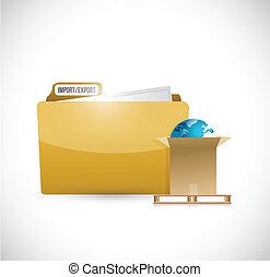 conception, documents, exportation, illustration, importation