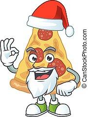 conception, doigt, concept, ok, dessin animé, tranche pizza, santa