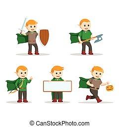 conception, ensemble, caractère, illustration, elfe
