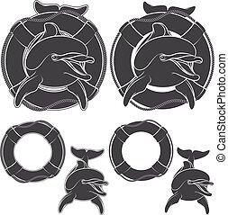 conception, ensemble, dauphin, element., logo