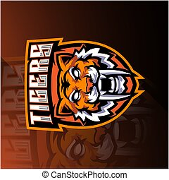 conception, esport, mascotte, tête, tigre, logo