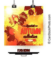 conception, feuilles, briller, automne, aviateur, presentation., affiche, foliage., time., photorealistic, brochure, affiche, vente