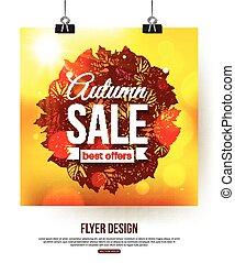 conception, feuilles, briller, automne, aviateur, presentation., affiche, foliage., time., photorealistic, brochure, affiche, vente, vente
