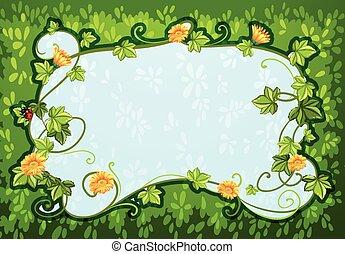 conception, fleurs, frontière, bogue