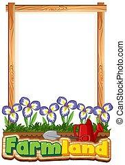 conception, fleurs, frontière, gabarit, iris