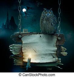 conception, fond, pour, nuit sorcières parti