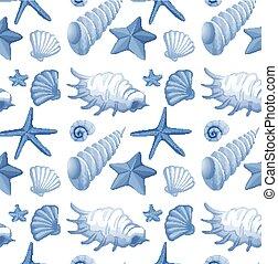 conception, fond, seashells, seamless