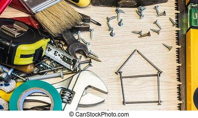 conception, fond, tools., planification, clous, maison, fait