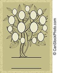 conception, fram, vecteur, arbre, famille