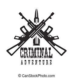 conception, fusils, balle, club, hors-la-loi, texte, signe, rue, traversé, gabarit, noir, blanc, criminel