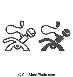 conception, glyph, toile, style, pneu, automobile, isolé, gage, pompe, 10., auto, illustration, pression, white., ligne, roues, contour, eps, app., vecteur, icon., conçu