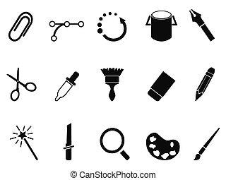 conception, graphique, ensemble, outils, icône
