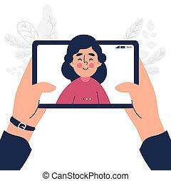 conception, haut, bavarder, fin, tablette, plat, appeler, femme, vidéo, parler