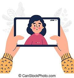 conception, haut, pc, fin, tablette, plat, avoir, appeler, femme, vidéo