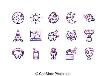 conception, icône, isolé, ensemble, vecteur, espace