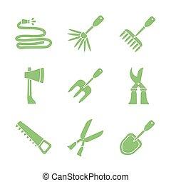 conception, icône, jardinage, silhouette, outils, ensemble