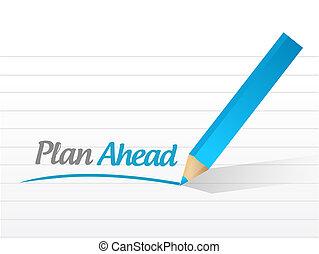 conception, illustration, devant, message, plan