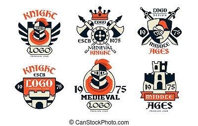 conception, insignes, vecteur, illustration, collection, chevalier, milieu, blanc, club, moyen-âge, fond, âges, logo