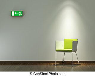 conception intérieur, chaise verte, blanc, mur