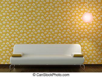 conception intérieur, de, blanc, divan, sur, fleuri, papier peint