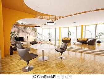 conception intérieur, de, moderne, appartement, 3d, render