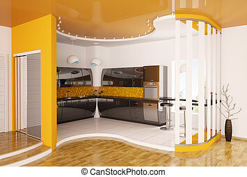 conception intérieur, de, moderne, cuisine, 3d, render