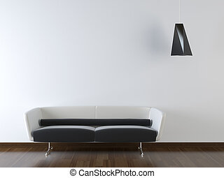 conception intérieur, de, moderne, divan, blanc, mur