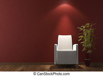conception intérieur, fauteuil blanc, sur, bordeaux, mur