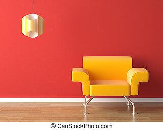 conception intérieur, jaune, rouges