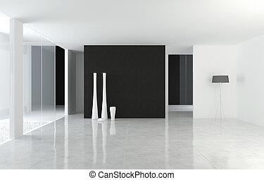 conception intérieur, moderne, b&w, espace