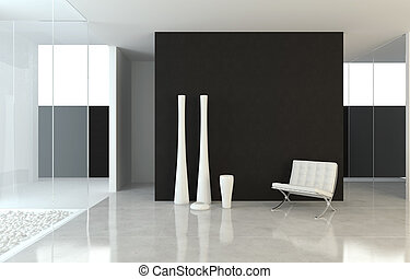 conception intérieur, moderne, b&w